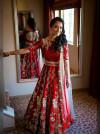 Red color Taffeta Embroidery Work Lehengas