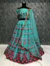 Rama Green color Taffeta Embroidery Work Lehengas
