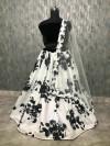 Black color Banglori Satin Silk printed work Lehenga