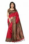 Red color cotton blend zari Embroidered saree