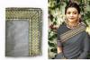 Gray color sana silk border work saree