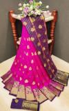 Pink color soft lichi silk Weaving Jequard work saree