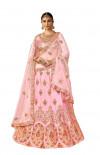 Pink color silk Embroidery work Lehanga