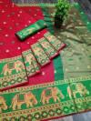 Red color Soft Cotton Silk Zari Woven saree