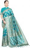 Sky blue color soft cotton silk woven work saree