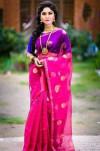 Pink color Cotton Silk Gold Printed saree