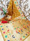 Yellow color Paithani silk weaving work saree