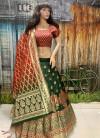 Green color pure silk woven design Lehenga