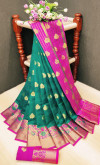 Rama green color soft lichi silk Weaving Jequard work saree