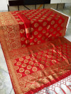 Red color soft cotton silk woven work saree