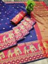 Blue color Soft Cotton Silk Zari Woven saree