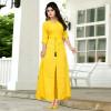 Yellow color rayon Button Work kurtis