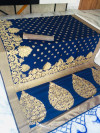 Navy blue color Soft Cotton Silk zari woven work saree