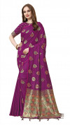 Purple color cotton silk gold zari work saree