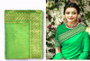 Green color sana silk border work saree
