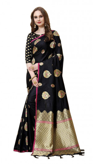 Black color cotton silk gold zari work saree