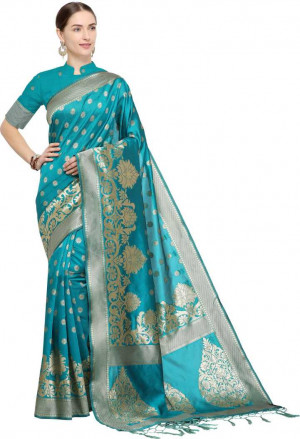 Sky blue color Soft Cotton Silk zari woven work saree