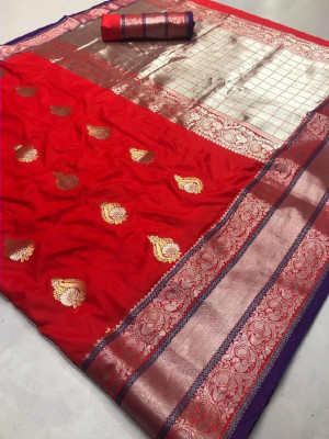 Red color Kanjivaram Soft Silk Zari work saree