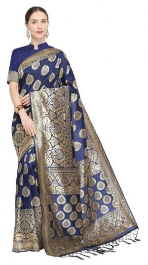 Navy blue color soft cotton silk woven work saree