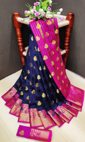 Navy blue color soft lichi silk Weaving Jequard work saree