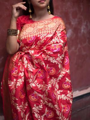 jecard weaving saree saree blouse women/'s saree bridal saree rich pallu saree, red saree designers saree Soft lichi silk saree