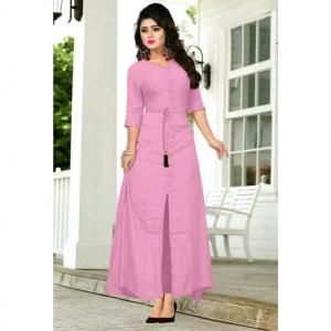 Pink color rayon Button Work kurtis