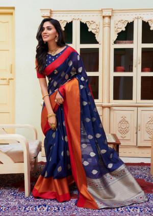Navy blue color Soft Cotton silk Jacquard work saree