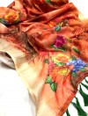 Red color linen silk digital printed saree