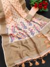 Peach color linen weaving saree