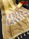 Yellow color linen weaving saree