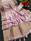 Pink color linen weaving saree