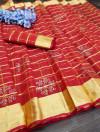 Red color handloom kota doriya saree with zari woven border