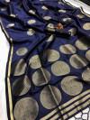Navy blue color lichi silk saree with golden zari work