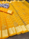 Yellow color handloom kota doriya saree with zari woven border