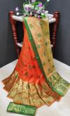 Orange color soft lichi silk Weaving Jacquard work saree