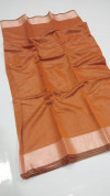 Orange color soft linen silk saree