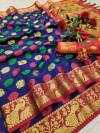 Cotton silk saree with jacquard weaving butta