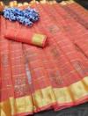 Peach color handloom kota doriya saree with zari woven border