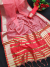 Red color banglori silk weaving saree with zari border