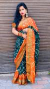 Green color hand bandhej bandhani saree