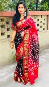 Black color hand bandhej bandhani saree