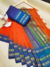Orange color manipuri kota doriya cotton saree