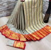 Gray color soft cotton silk saree