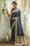 Navy blue color soft banarasi katan silk saree