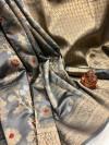 Gray color soft banarasi silk saree with golden zari weaving work