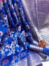 Blue color soft banarasi silk saree with golden zari weaving work