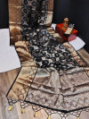 Black color mysore silk saree with golden and silver zari work