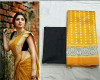 Yellow color soft silk printed saree