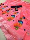 Peach color semi linen saree with chain stitched work