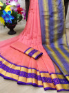 Pink color cotton silk saree with jacquard weaving border